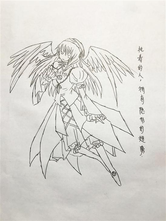 女背部翅膀手绘