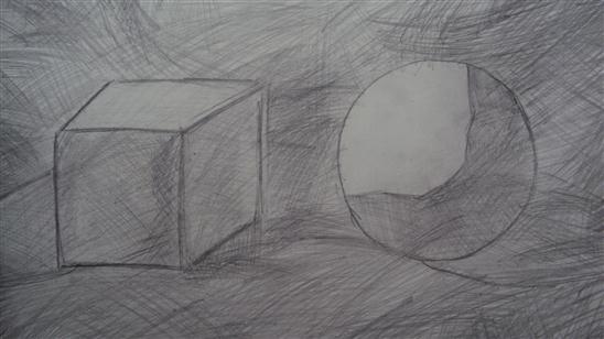 暑假里我画了一张正方体和圆体,看看自己的成果不错,非常开心!